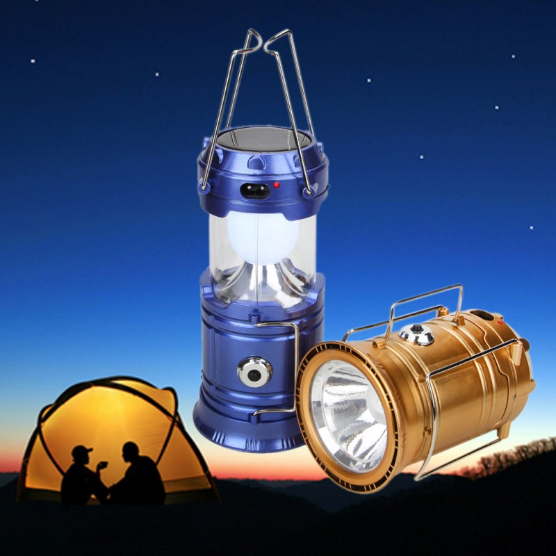 Portable Rechargeable LED Solar Camping Lantern Camping Hiking Tent Lights Folding Camping Lighting