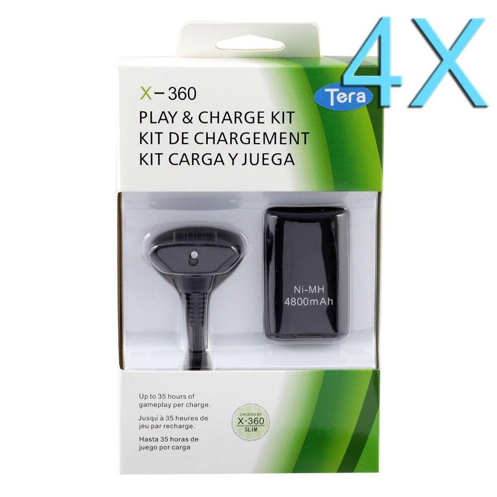 4X360 mAh Paquete de batería recargable para XBOX 4800 controlador inalámbrico con Cable