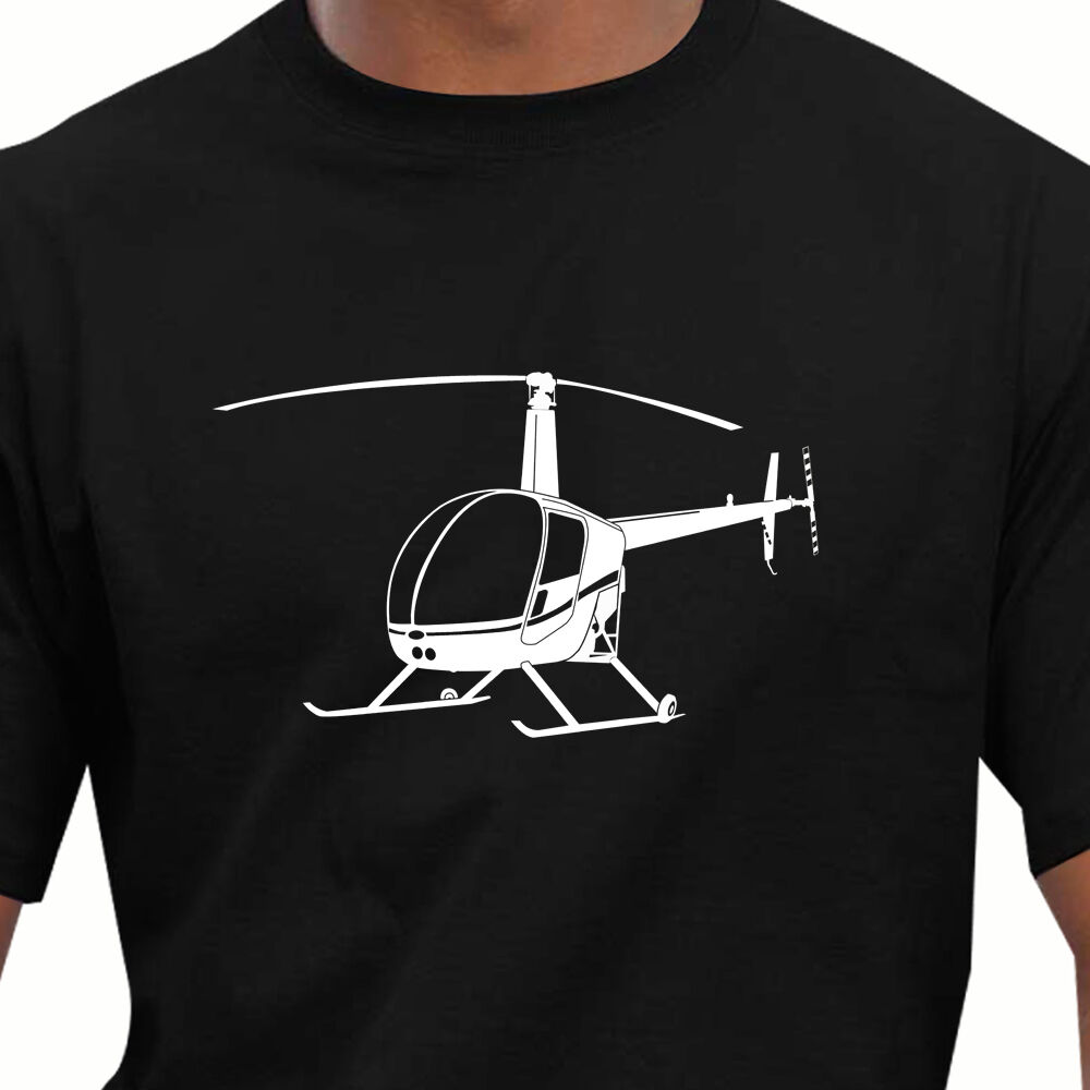 Aeroclassic Robinson R22 Helicopter Inspired T-Shirt Summer Fashion Homme Solid Fitness High Quality Men Short Sleeve Shirts image