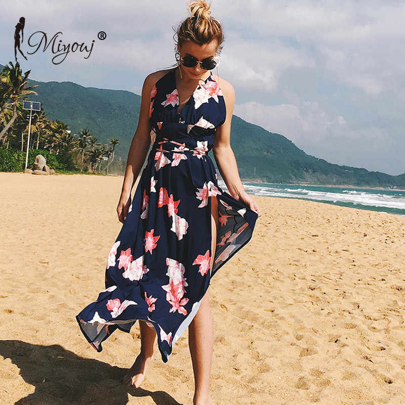 f5734ee5ed ... Miyouj V Neck Beach Dress Chiffon Long Beachwear Women Mixi Dresses  Halter Swimsuit Backless Beach Tunic ...