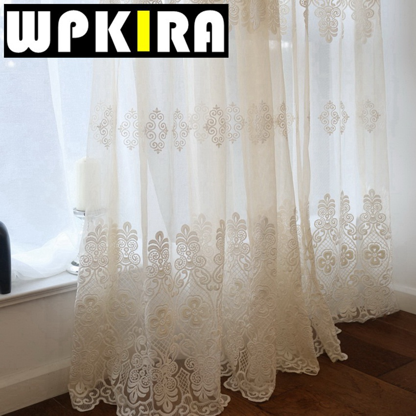 Buy European Embroidered Sheer Curtains For Living Room Window Curtains For The