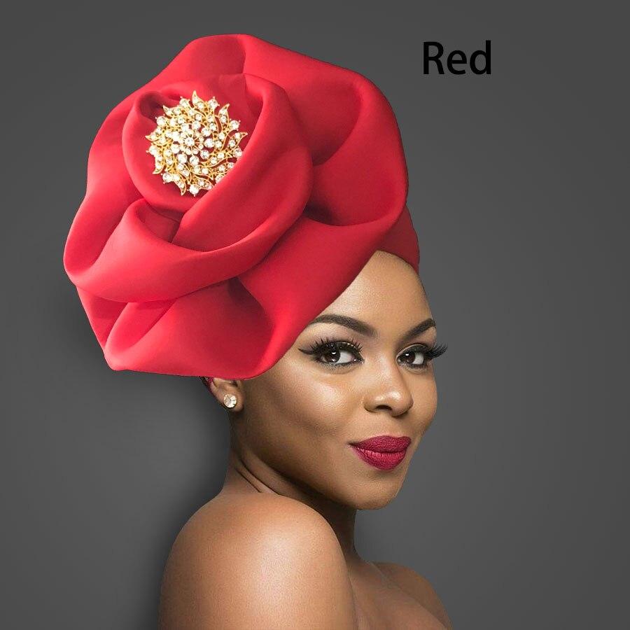Sólido africano turbante grande flor design headtie boné para moda feminino headwrap com crachá