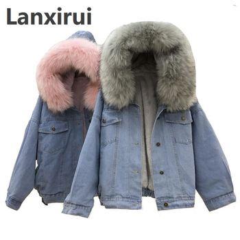 Winter Women Jean Jacket Coat Faux Fur Collar Fleece Hooded Jacket Lamb Fur Cashmere Cowgirls Padded Denim Coat цена 2017