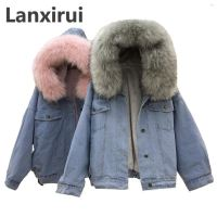 Winter Women Jean Jacket Coat Faux Fur Collar Fleece Hooded Jacket Lamb Fur Cashmere Cowgirls Padded Denim Coat