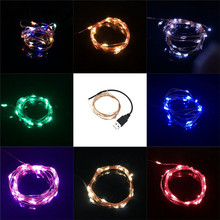 2M USB LED String Light Waterproof LED Copper Wire String Holiday Outdoor Fairy Lights For Christmas Party Wedding Decoration 2m outdoor waterproof ip65 decoration light 100ma dc 1 2v led solar string light outdoor string led holiday decor lamp