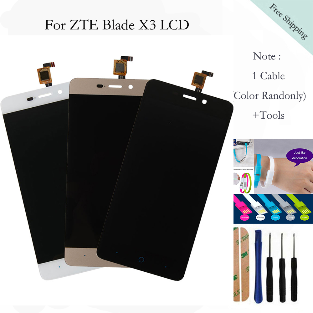 1pcs Black LCD with Touch Screen Replacement For ZTE Blade X3 D2 5.0 inch LCD Display with Touch Screen Digitizer Smartphone