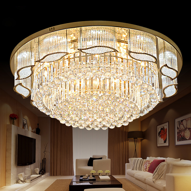 New gold luxury living room crystal round lamp ceiling lamp chandelier bedroom light atmosphere warm lighting lamps ceiling lamp цена