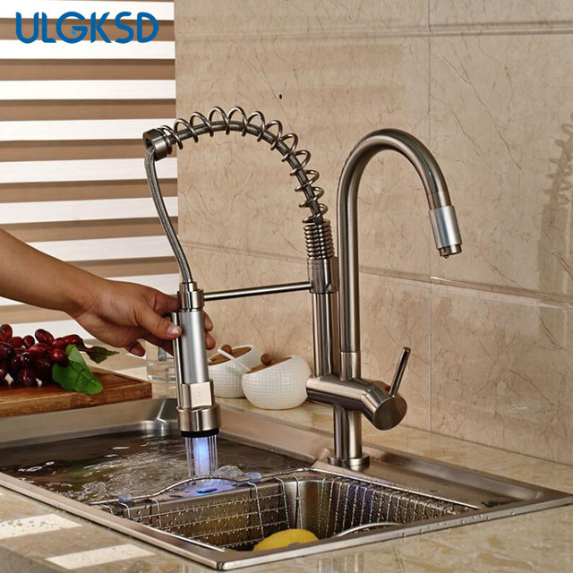 kitchen faucet LED pull down sprayer vessel faucet chrome Brushed ...