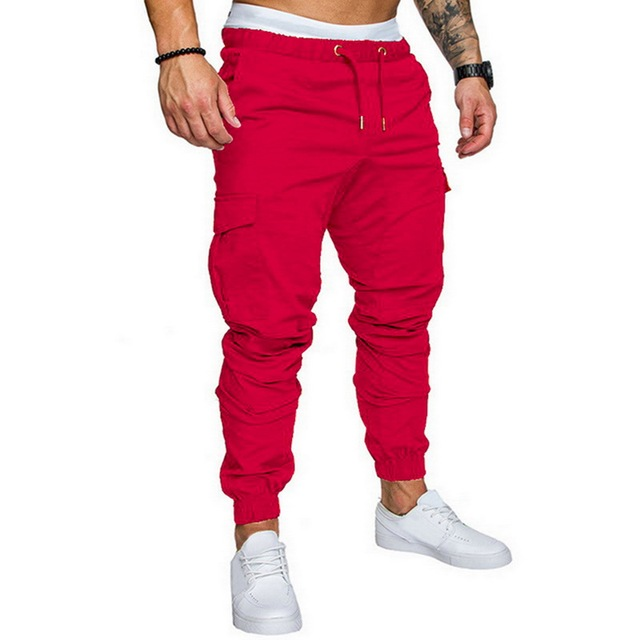 New Male Trousers Solid Color Multi-pocket Casual Pants Fashion Slim Fit Sweatpants