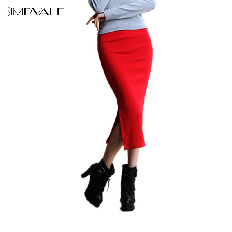 Skirts: 2016 Autumn Skirts Sexy Chic Pencil Skirt Women Office Mid Waist Mid-Calf Solid Skirt Casual Slim Hip Placketing Lady Skirts