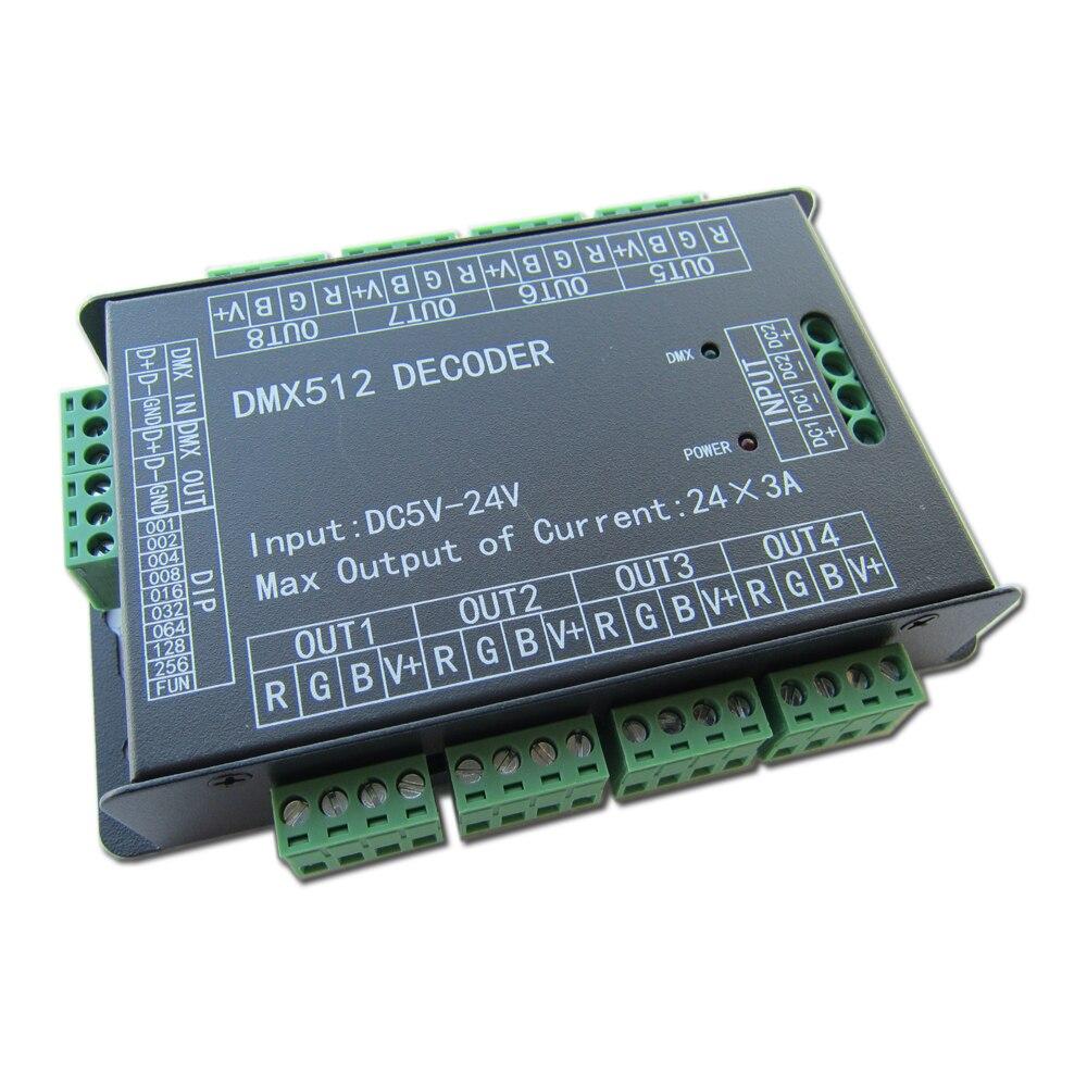 Haute puissance 24 canaux 3A/CH DMX512 contrôleur LED décodeur gradateur DMX 512 RGB LED contrôleur DMX décodeur variateur pilote pour