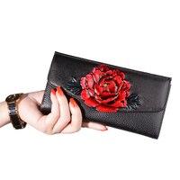 New Genuine Leather Women Wallets Long Brand Flower Clutches Large Capacity Envelope Bolsa Feminina Female Purse