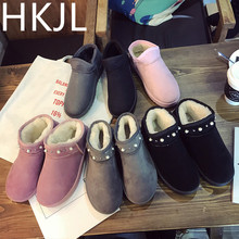 HKJL Shoes woman Short tube snow boots female 2019 winter new flat bottom plus velvet warm cotton shoes Women\x27s Z050