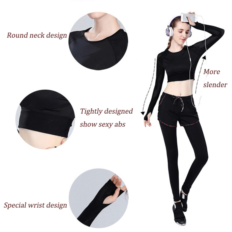 35541882144b Women Black Crop Top Quick Dry Sports Shirt Breathable Fitness Top Female Fitness  Clothing Elastic Long Sleeve Gym Sportswear XL-in Yoga Shirts from Sports  ...