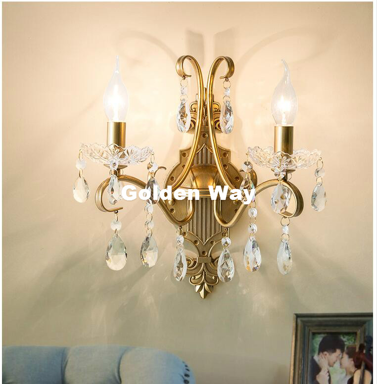 Free Shipping American Country Crystal Wall Lamp Nordic Crystal Wall Lamp Lustres Vintage Sconce Golden Clear Crystal Wall LightFree Shipping American Country Crystal Wall Lamp Nordic Crystal Wall Lamp Lustres Vintage Sconce Golden Clear Crystal Wall Light