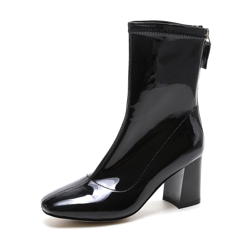 chaussure femme full grain leather Ankle boots ladies woman shoes autumn point toe square high heels boot woman party shoes hot sexy women booty cheeky denim micro mini shorts low rise waist erotic disco dance skinny short hotpants clubwear
