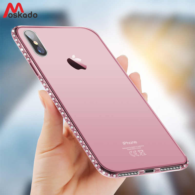 Custodia per telefono Moskado per iPhone 11 Pro 7 X XR XS MAX 8 6 6s Plus 5 SE Bling Diamond Cover trasparente in cristallo morbido TPU Cover posteriore