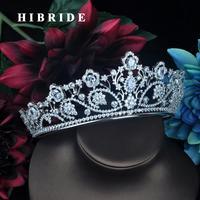 HIBRIDE Full Cubic Zirconia Crown Bridal Hair Accessory Wedding Rhinestone Waterdrop Tiaras Bridesmaid Hair Jewelry C 111