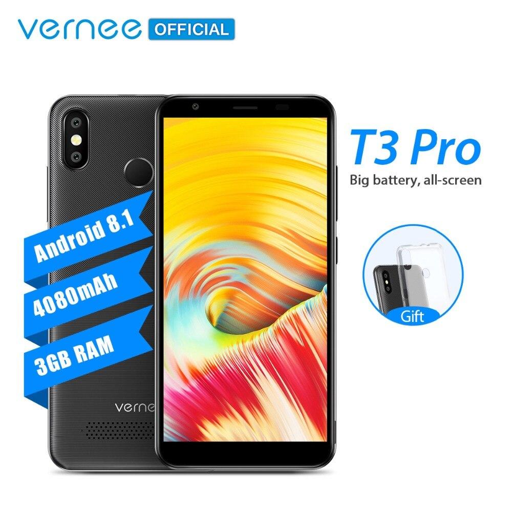 Vernee T3 Pro 5.5 ''Plein Écran Smartphone 3 GB RAM 16 GB ROM téléphone portable Android 8.1 MTK6739 Quad- core 4080 mAh 4G LTE Téléphone Portable