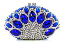 Free shipping !! Z16-1.blue color fashion top crystal stones ring clutches bags for ladies nice party bag