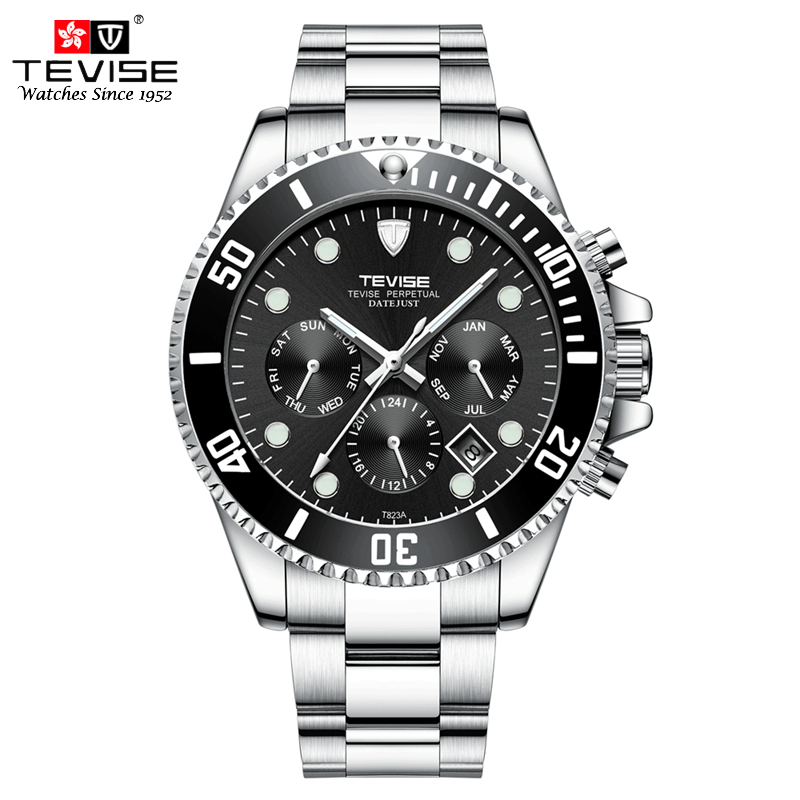TEVISE Self Winding Mechanical Watches Mechanical Stainless Steel Calendar Date Watches Men Montre Homme Automatique Relogio orkina kc082 stainless steel mechanical self winding analog men s wrist watch w calendar silver