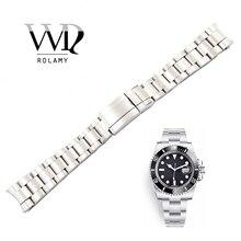"""Rolamy 20 21 מ""""מ שעון להקת כסף מוברש 316L מוצק נירוסטה רצועת השעון חגורת רצועת צמידי לצוללן סיטונאי"""
