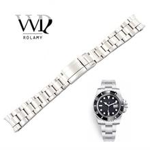 Rolamy 20 21mm Horloge Band Zilver Geborsteld 316L Solide Roestvrij Stalen Horlogeband Riem Armbanden Voor Submariner Groothandel