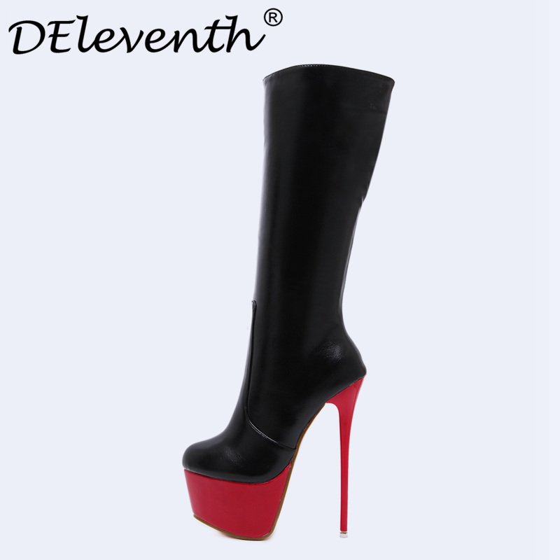 DEleventh2017 Fashion Woman Winter Shoes Boots Sexy Stiletto Red Heel Gladiator Super High Heels Boots Women Botas Booties Black sexy woman platform high heel stiletto glitter gold rivet decoration knee high boots big size black womens gladiator boots shoes
