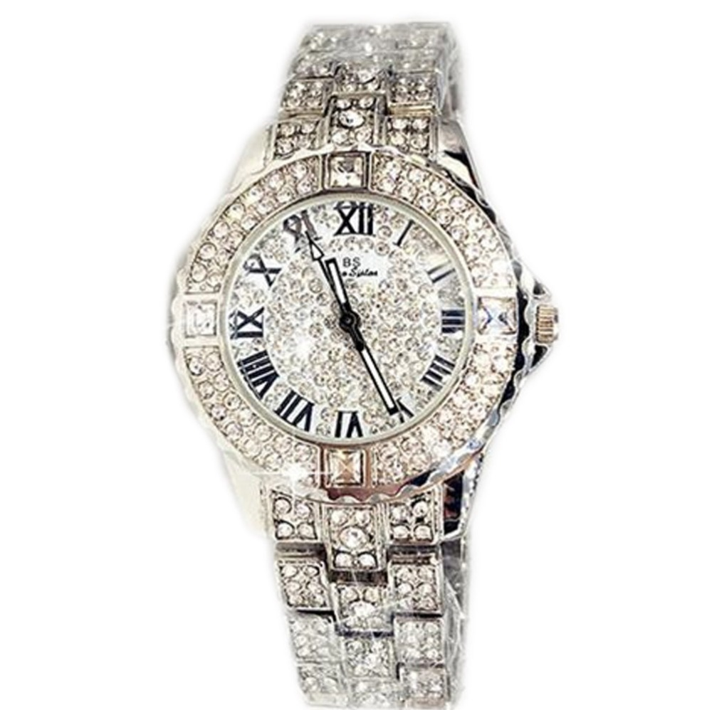 Hot Sale Kvinner Brand Bling Watch Luksus Østerrikske Krystaller Stilfuld Watch Sølv Shinning Diamond Rhinestone Bangle Armbånd