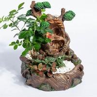 Resin Succulents Plants Small Bonsai Pot Vase Micro Landscape Flower Pot Garden Decoration with LED String moss Flower Pot