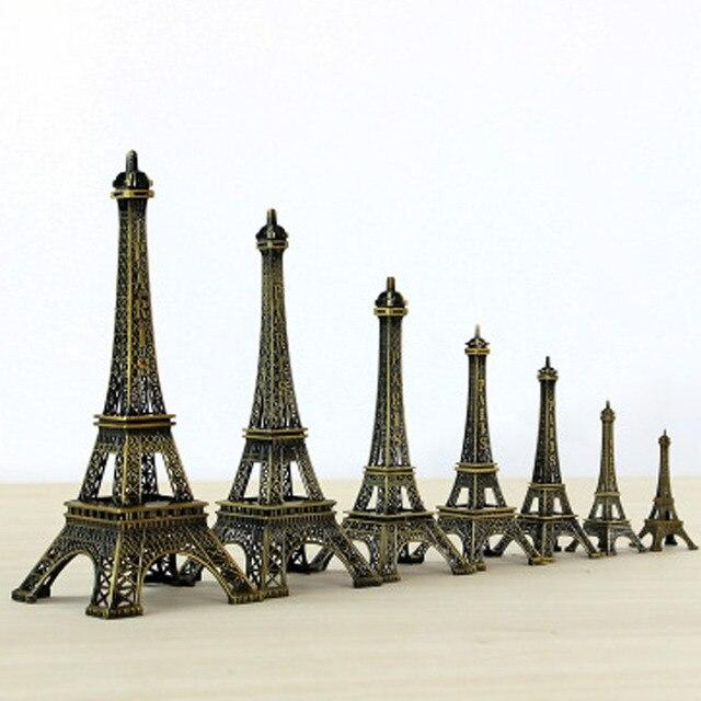 New Vintage Alloy Bronze Tone Paris Eiffel Tower Statue Model Figurine Ornament Sculpture Souvenir Home Decor