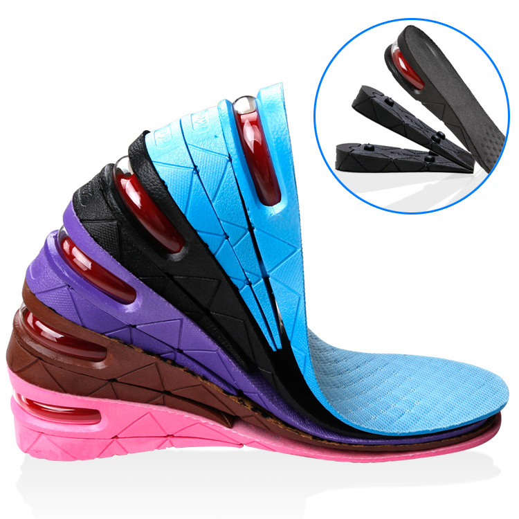 100PAIRS/LOT Height Increase Insoles 3 Layer 7CM Adjustable Air Cushion Invisible Lift Pads soles for shoes inserts men women high quality new 3 layer 7cm air bubble cushion shoe lift height increase heel insoles pair taller for men and women