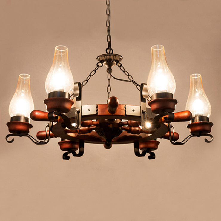 Multiple Chandelier Rudder wrought iron light living room lights restaurant lamp american bar dining lamp ZX58 hghomeart continental iron chandelier dining chandelier three bedroom lamp study light tinted glass wrought iron lamp restaurant