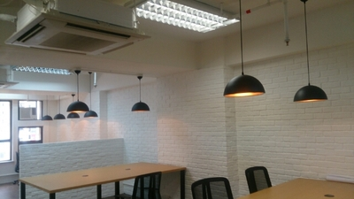 Sala da pranzo contemporanea hanging luci led illuminazione