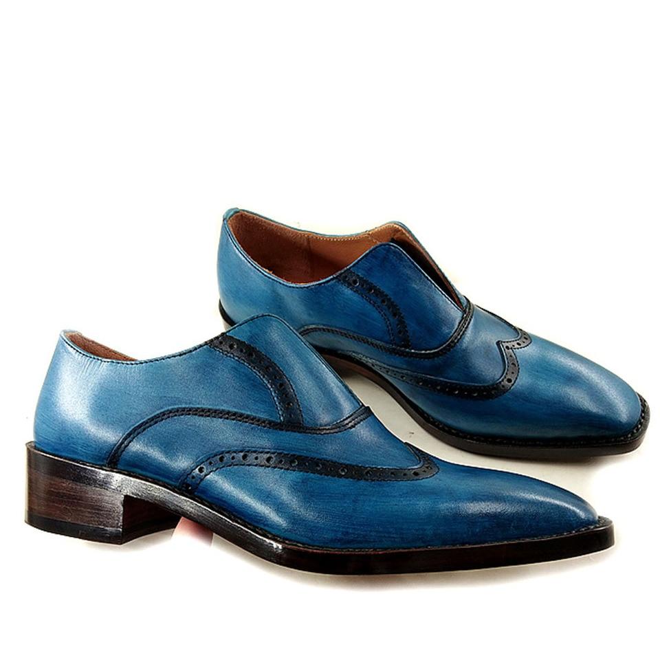 Brogue Shoes Blue Black Cow Leather