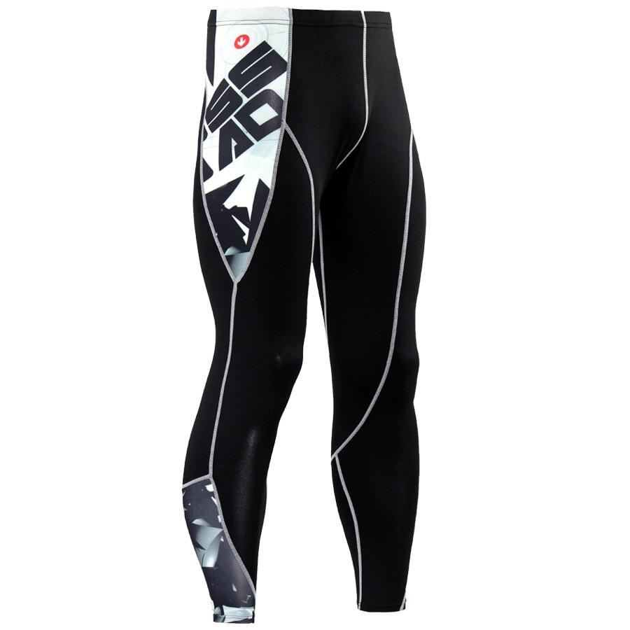 2017 Nueva Moda Hombres Pantalones de Compresión Impresión 3D de Secado rápido Leggings Flacos Medias Fitness Pantalones MMA Costura Tousers