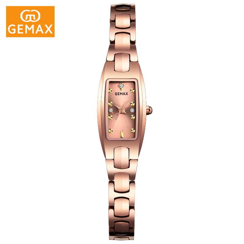 New Brand GEMAX Tungsten Steel Bracelet Watch Women Luxury Ladies Watch Creative Girl Quartz Wristwatch Clock Relogio Feminino new brand rose gold women watch steel luxury ladies watch creative girl quartz wristwatch clock montre relogio feminino 2018