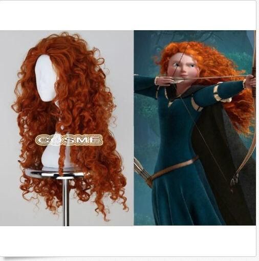 ePacket free shipping Women Fashion Long Heat Resistant Orange Wig Brave  Merida Cosplay Anime Full Wig-in Jewelry Findings   Components from Jewelry  ... 0516cac85