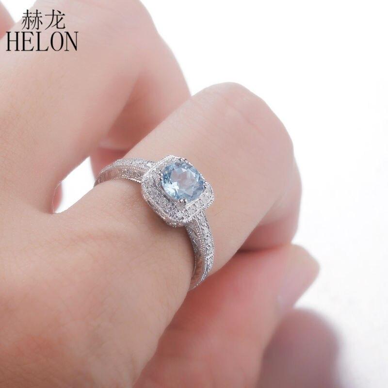 HELON rond 1.3ct bleu bague topaze en argent Sterling 925 diamant bague de fiançailles de mariage pour les femmes Vintage filigrane bijoux anciens
