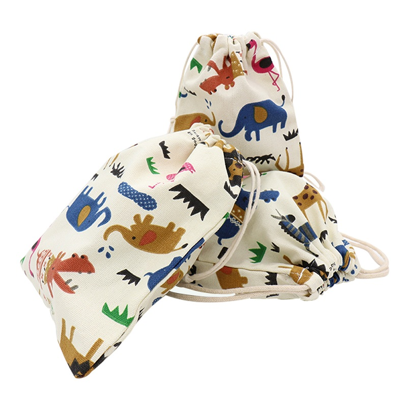 Cartoon Animals Storage Bags Baby Clothing Kids Toys Organizer Drawstring Candy Bags Cotton Jewelry Cosmetic Pouch Gift Bag