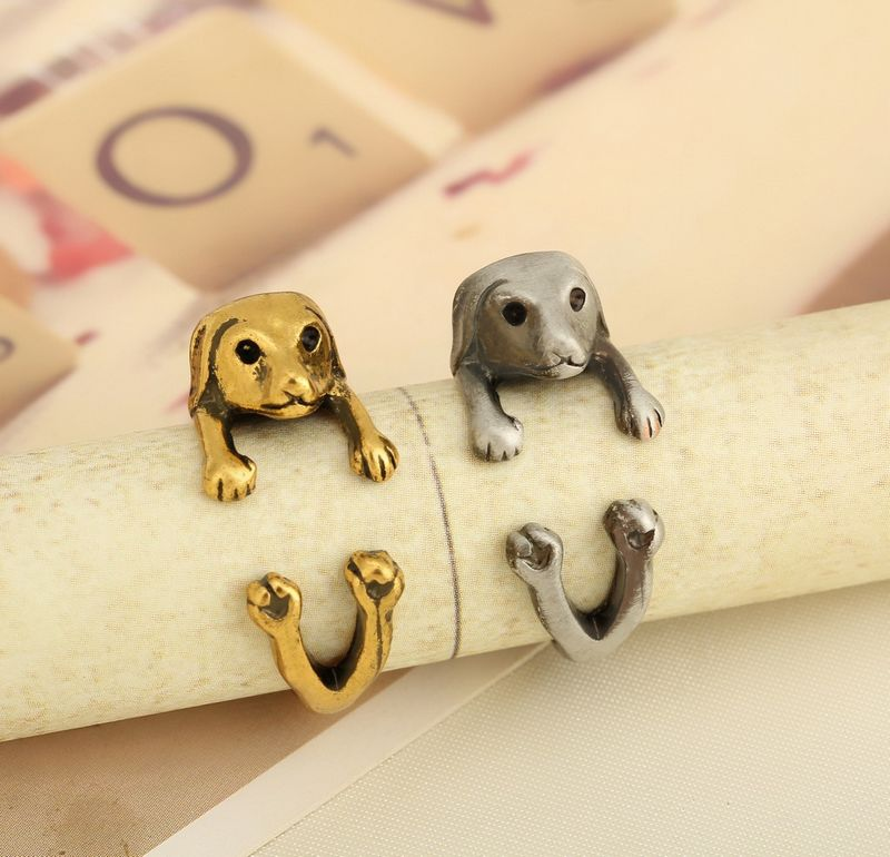 New 1 Pcs shipping Vintage Dachshund Dog jewerly Antique Silver / Antique Gold Sausage Dog Ring