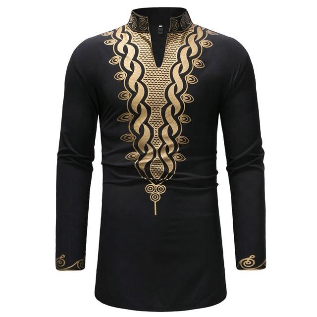 25f2c41e0b658 Hombres negro Hipster Stand Collar largo Hipster africano Dashiki Slim Fit  vestido Jakcet 2018 Casual Botón