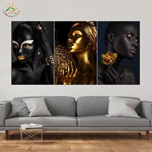 Gold Black Woman Wall Art HD Prints Canvas Painting Modular Picture And Poster Decoration Home 3 PIECES