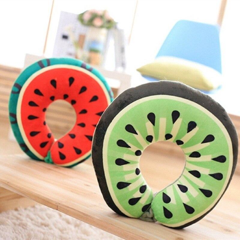 Adaptable Draagbare Creative Fruit Print U Vormige Hals Ondersteuning Reiskussen Kantoor Dutje Kussen Slapen En Rest Op Vliegtuig Trein En Auto