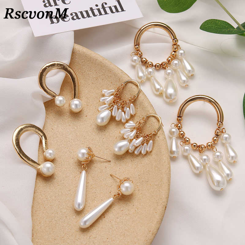 RscvonM Bride Earring Tassel Dangle Earrings For Women Pearl earrings Brincos Bijoux Jewelry Wedding Earrings Bride Jewelry