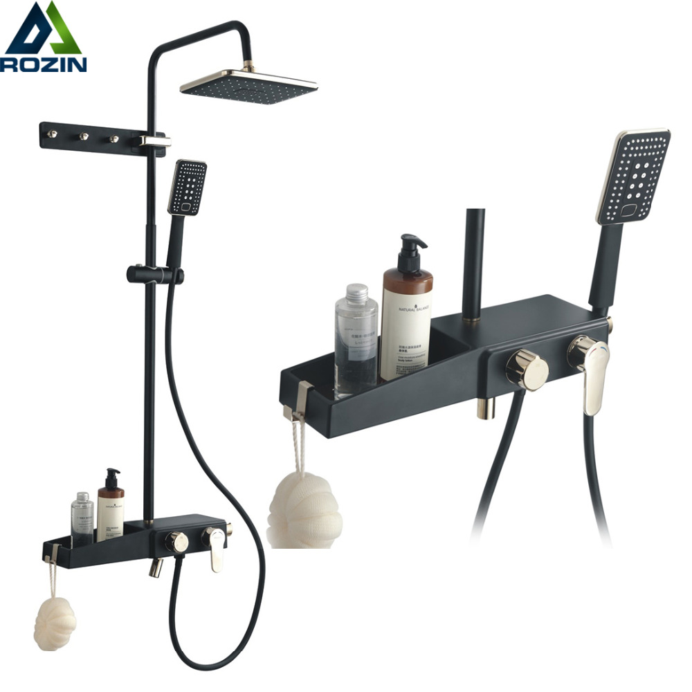 Bathroom Shelf Shower Faucet Set Wall Mount Black Rainfall