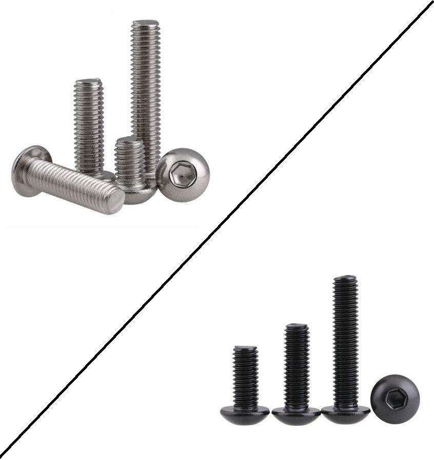 5-50PCS Allen Key Head Iso7380 M2 M2.5 M3 M4 M5 M6 Stainless Steel 304 Or 10.9 Black Hex Socket Button  Head Machine Screw