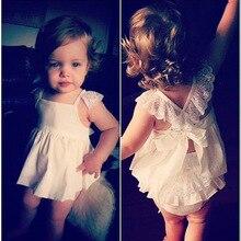 Bébé Filles Barboteuses Infantile Vêtements Mignon Floral Sans Manches Nouveau-Né Bébé blanc Dentelle Barboteuse D'une Seule Pièce Bébé Vêtements