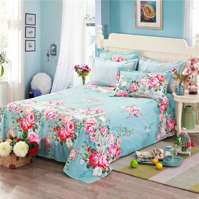 100 Cotton Blue Bed Sheets Pink Printing Flowers New Fashion Cartoon Twin Full Queen King