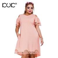 Kuk 4 Color Plus Size Dresses For Women 4XL 5XL 6XL Pink Purple Green Big Size
